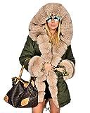 Roiii® Frauen Winter Verdicken Parka Kapuzen Ski Outdoor Kunstpelz Jacke Mantel Plus Größe 36-50