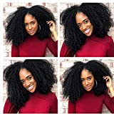 Extensions de cheveux humains à clips 4B 4C - Afro bouclés à clips - Véritables cheveux humains de Mongolie Remy pour femmes noires - 120 g - 8 pièces par lot - Tête complète - Noir naturel