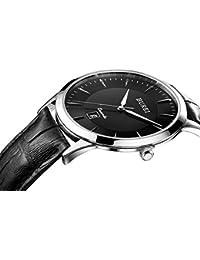 BUREI Hombre Fecha Pantalla antiarañazos Cristal de zafiro reloj de cuarzo con correa de piel, color negro
