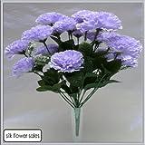 18 Kopf Violette Nelken Kunst Seiden Blumen Strauß Hochzeit/ Grab/ Vase