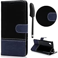 Xperia XA1 Wallet Case ,Lanveni Sony Xperia XA1 [Crazy Horse Pattern + Lace Pattern Stitching Desgin] PU Leather Magnetic Closure Flip Cover with Flexible TPU & 3 Card Slots & KickStand Function Case For Sony G3121 / G3123 / G3125 + 1 Stylus Pen ,Blue + black