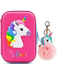 Estuche para lápices con diseño de unicornio con colgante de unicornio, organizador de lápices duro