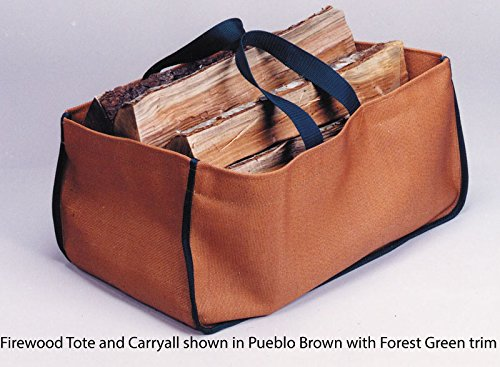 American Made Firewood Tote And Carryall (Large Size 22\ X 12\ X 12\) (9 14) Is Made Of Stylish But Tough Polyester Army Duck Fabric. Pueblo Brown With Forest Green Trim. Ideal For Firewood