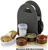 Atman Stainless Steel 3 Container & 1 Caserolles Set with Plastic Bottle Lunch