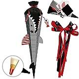 alles-meine GmbH BASTELSET - 3D Effekt - Schultüte -  Fisch - Hai Happen - Fische  - inkl. große Schleife - 85 cm - mit Holzspitze - Filzabschluß - Zuckertüte - incl. Rohlin..