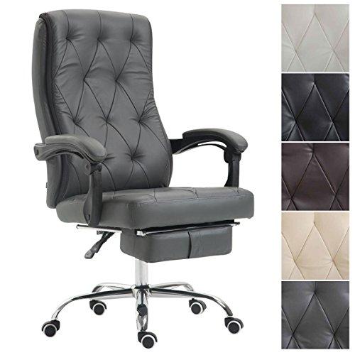 CLP Bürostuhl Gear mit Kunstlederbezug, Chefsessel mit Fußstütze, max. belastbar bis 136 kg, höhenverstellbar, ergonomisch Grau