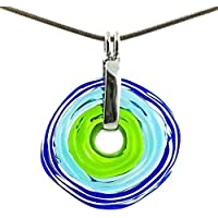 Necklace with pendant in blue and green shades of Murano glass   Glass jewellery   exchange jewellery personalized   handmade   Unique gift for the best woman   Charming Birthday Gift   Wonderful Mother's Day gift for your wife, mother, mom or om