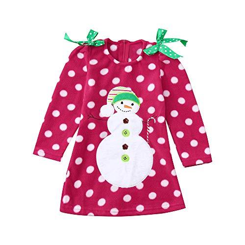 Beginfu Weihnachten Kinder Baby Mädchen mit Langen Ärmeln Schön Wellenpunkt Kleid Cartoon Schneemann Print Dress Baby Long Sleeve Schulter Bogen Cartoon Schneemann Print Kleid