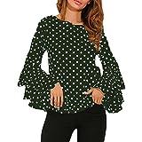 NPRADLA 2018 Mode Damen Bell Sleeve Lose Polka Dot Shirt Damen Casual Bluse Tops