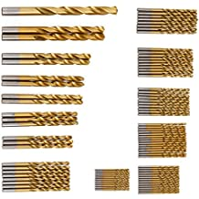 CLE DE TOUS - Set de 98pcs HSS-Co Metal Cobalto Titanio Brocas de Taladro 1.5mm-10mm Brocas Cilíndricas