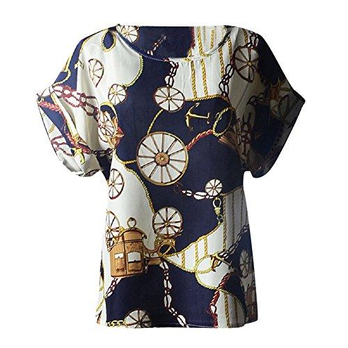 Moollyfox Femmes Imprimé Fleur Col Rond en Mousseline de Soie à Manches Courtes T-Shirts Hauts Grande Roue