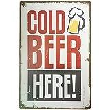 ipekoo Cold Beer Here Distressed Retro Vintage pared metal Blechschild