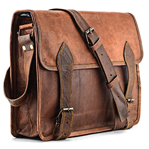 A.P. Donovan - Leder-Umhänge-Tasche für 15 Zoll-Notebooks - Messenger-Laptop-Hülle mit Riemenverschluss als Schulter-Bag geeignet für Herren