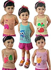 SIRTEX Kids Super-Soft 100% Cotton Multi-Color Slips/Camisole (Pack of 5)