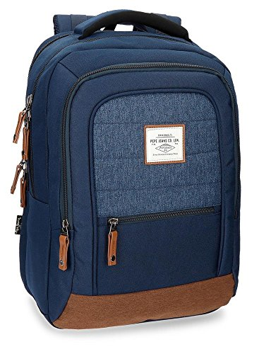 Pepe Jeans Quilted Mochila Tipo Casual, 44 cm, 20.46 Litros, Azul