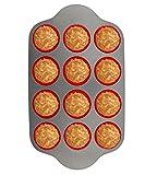 Teglia in silicone per muffin, con struttura in Acciaio, 12 stampi | Stampi professionali antiaderenti di Boxiki Kitchen|Approvata dall'FDA, senza BPA | Stampo in silicone per Muffin, 12 stampi in S