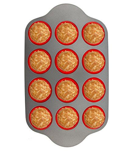 Silikon Muffinbackform mit Stahlrahmen,12 Becher in voller Größe | Professionelle Antihaft Backformen von Boxiki Kitchen |FDA-zertifiziertes, BPA-freies Backzubehör |Muffinform aus Silikon Silicone (Professionelle Schwarz Gefrierschrank)