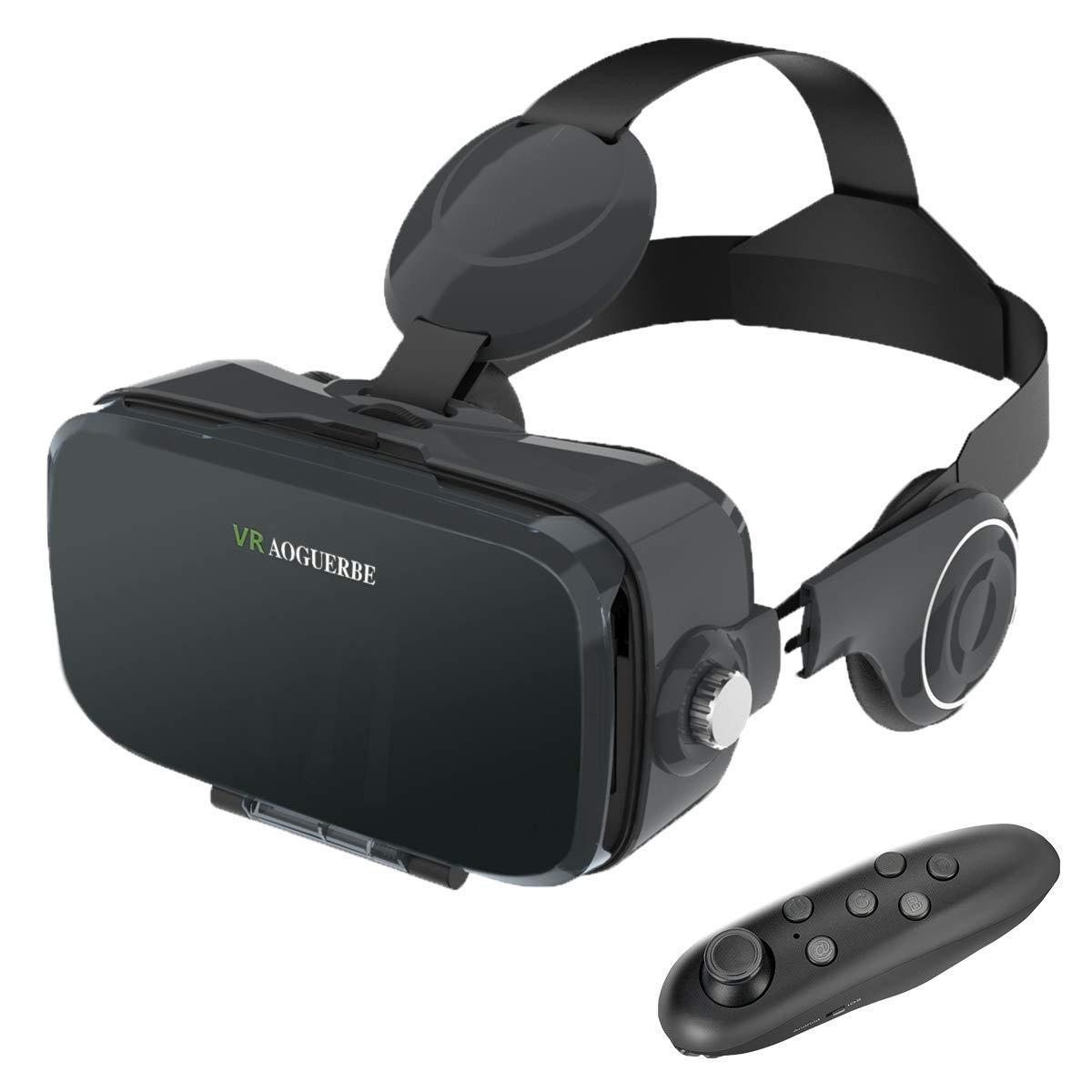 AOGUERBE Lunettes 3D VR Casques de Réalité Virtuelle avec Bluetooth Télécommande