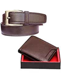 Elligator Handcrafted Real PU Leather Extra Capacity Slimfold Bifold Wallet And Belt For Men/Classy PU leather Wallet And Belt/Purse for Men/Boys with 6 card Slots