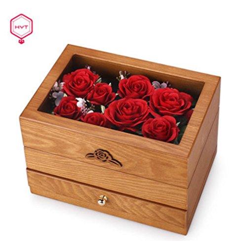 hyt retro de madera de dos capas de joyera marquetry flores tapa superior y espejo de