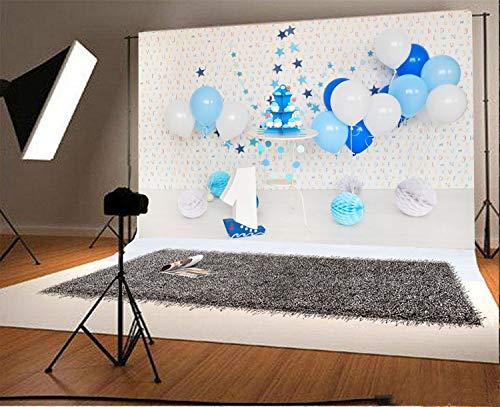vrupi Vinyl 7x5ft Photography Background One First Birthday Decoration Blue and White Balloons Paper Flower Cake Smash Table White Floor Alphabet Wallpaper Backdrops Portraits Shoot -