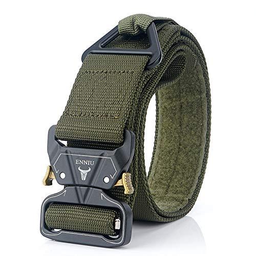 MASII Zinklegierung Buckle Outdoor Tactical Belt Herren Military Training Gürtel Rescue Abseilen Sicherheit Nylon äußere Taille,Green -