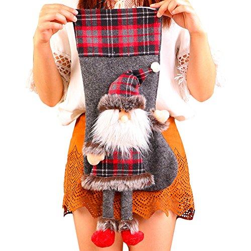 Calza di Natale da appendere per contenere regali e dolciumi o come decorazione per albero di Natale, lunghezza: 50,8cm, Tessuto, as picture, Santa Claus#
