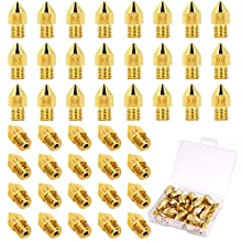 Evance 44 Pieces 3D Printer Nozzles MK8 Nozzle 0.2mm, 0.3mm, 0.4mm, 0.5mm, 0.6mm, 0.8mm, 1.0mm, Brass Nozzles Extruder Print Head for 3D Printer Makerbot Creality CR-10 with Plastic Storage Box (Gold)