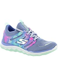 Skechers Girls Diamond Runner Lace Up Athletic Sports Trainers Shoes