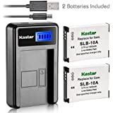 Kastar Battery (X2) & LCD USB Charger For Samsung SLB-10A JVC BN-VH105 And Digimax ES55 ES60 EX2F L100 L110 L210 L310W M100 PL50 PL51 PL55 PL60 PL65 PL70 WB250F WB500 WB700 WB750 WB800F WB850F WB2100