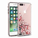 iPhone 7 Plus Case, Clear iPhone 8 Plus Case, CASESOCIETY Cherry Blossom Clear Design Sleek Hard Plastic with soft TPU Bumper Protective Back Phone Case Cover for Apple iPhone 7 Plus and 8 Plus (5.5 )