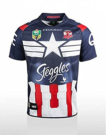 b1784c66563 Sydney Roosters 2014 NRL Captain America Marvel Ltd Edition S/S Replica Rugby  Shirt - size XXL: Amazon.co.uk: Sports & Outdoors