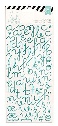 American Crafts Heidi Swapp 10268595Schablone zum Specialty Aufkleber Puffy Alphabet/Blaugrün Glitzer, Acryl, mehrfarbig