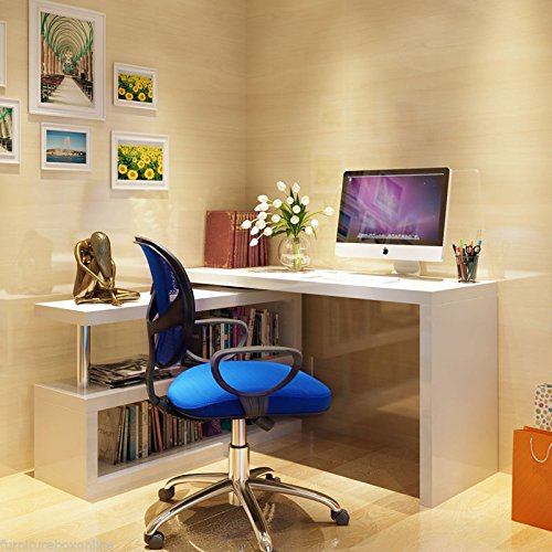 Bedroom Corner Desk: New SIENA White High Gloss Computer PC Home Executive