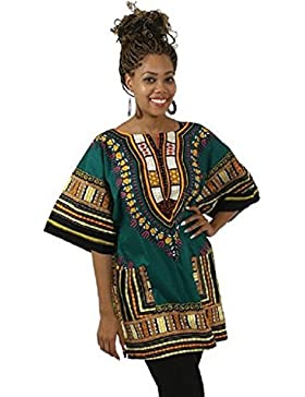 Ularma Dashiki camiseta, estilo tradicional, Casual estilo de Tailandia floja impresión, con blusa de bolsillo...
