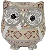 CHICCIE Terracotta Spardose Eule 14cm - Augen Rot - Dekoration Figur Spar Dose