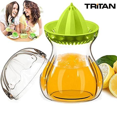 Presse agrumes, Manuel Presse-citron Extracteur de jus récipient set avec couvercle, Tritan 100% Sans BPA, Convient pour Jus d'orange, de citron, Sûr pour Micro-ondes, au Congélateur et au lave vaisselle (0,60 Liter,