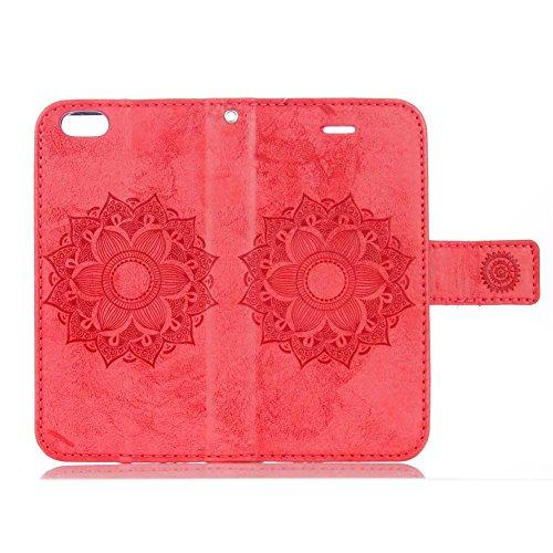iPhone 6S Plus Coque, Aeeque® iPhone 6S Plus Joli Éléphant Rose Chaud Désign Bookstyle Étui en Cuir Case à Rabat Magnétique Fermeture Coque de Protection avec Porte Carte et Stand pour iPhone 6 Plus/6 Totem Fleur Rouge