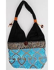Sac bandoulière, sac besace soie Thai Turquoise clair brodé séquins