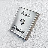 Metzler-Trade - Edelstahl Türklingel - für die Aufputz-Montage – Quadratisch – absolut witterungsbeständig – modernes Design – komplett montagefertig – Inklusive Laser-Gravur – Maße: 100 x 100 x 11 mm