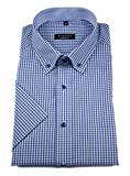 eterna Herren Kurzarm Hemd Comfort Fit Button-Down-Kragen Kariert Patch 3057.K144 (Blau, W43, Länge Kurzarm)