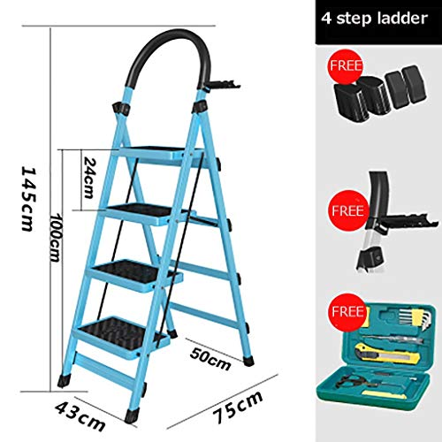 Plegable Escalera,multifunción Escaleras De Mano Antideslizante Pesada Deber Escalera Para El Hogar Cocina Oficina Almacén-azul 43x75x145cm(17x30x57inch)