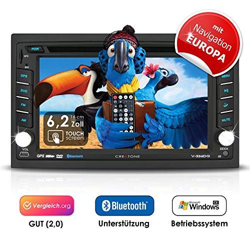2DIN Autoradio CREATONE V-336DG mit GPS Navigation (Europa), Bluetooth, Touchscreen, DVD-Player und USB/SD-Funktion