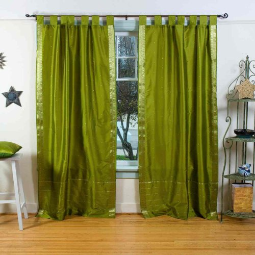 Indian Selections Olive Grün Tab Top Sheer Sari Vorhang/Fall/Panel-Paar, Polyester, Grün, 43 X 96 Inches (Für Tops Sari)