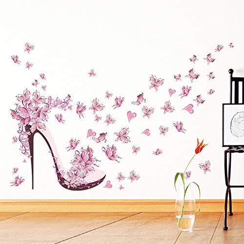 ZXFMT Scarpe con Tacco Alto Farfalle Volanti Cuore Adesivo Murale Fiore Decalcomanie in PVC Decorazioni per La Casa Decorazioni per La Stanza della Ragazza Poster