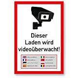 Dieser Laden wird videoüberwacht Mehrsprachig, Weiß-Rot Realistisches Kamerasymbol (Hochformat)