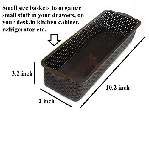 CSM Baskets Multipurpose Storage Basket Combo of 6 Small Size (Dimensions = 27 cm x 8 cm x 4.5 cm)