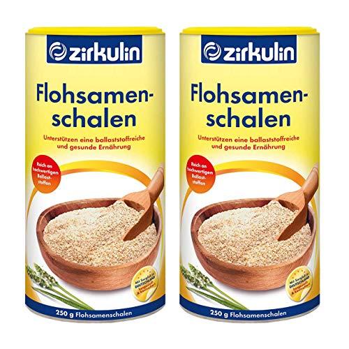 Zirkulin Flohsamenschalen im 2er-Pack (2x 250g), reich an hochwertigen Ballaststoffen, geschmacksneutrales Nahrungsergänzungsmittel zur Unterstützung der natürlichen Verdauung