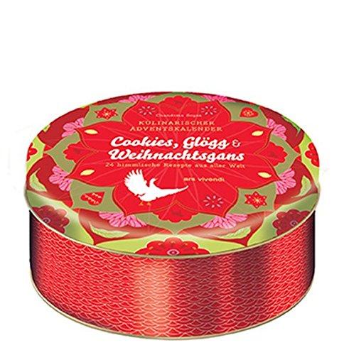 Kulinarischer Adventskalender Cookies, Glögg und Weihnachtsgans - 24 himmlische Weihnachtsrezepte aus aller Welt - In Blechdose mit 24 Karten zum Aufhängen
