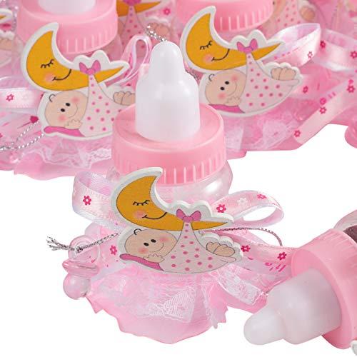 QILICZ 24 stück Flaschen Geschenk Box Gastgeschenke Taufe Baby-Süßigkeit Baby Candy Box mit Mini Dekoschnuller und Spitze Schürze für Mädchen Shower Babydusche Party Taufe Geschenkpaket Babyparty